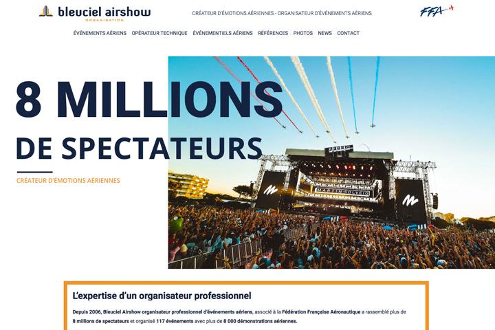 screenshot page accueil Bleuciel Airshow